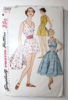 1950s Playsuit / Vintage Simplicity Pattern 4303  Retro 50s Romper and Nipped Waist Full Circle Skirt Uncut Pattern Bust 38. $32.00, via Etsy.
