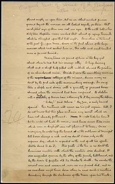 """Original manuscript page from Arthur Conan Doyle's """"Hound of the Baskervilles"""" from the fourteenth chapter (1901)."""