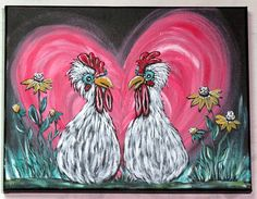 Chicken Art / Original Acrylic Painting on Canvas / Whimsical Farmhouse Wall Decor / Farm Animal Kitchen Wall Art / Handpainted Unique Gift Canvas Paintings, Your Paintings, Animal Paintings, Original Paintings, Rooster Painting, Rooster Art, Chicken Painting, Chicken Art, Kitchen Wall Art