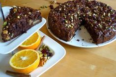 Vegan Chocolate Walnut Cranberry Coffee Cake with Pistachios Greek Desserts, Party Desserts, Greek Recipes, Healthy Cooking, Cooking Recipes, Healthy Food, Think Food, Vegan Cake, Vegan Food