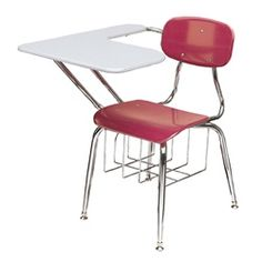 "Scholar Craft 450 Series Chair Desk - These popular chair desks feature a wood or solid plastic top and are supported by a 16 gauge steel frame with a signature crossover and swagged leg design with a bright nickel chrome plated finish.  Each combo desk includes an underseat bookrack and tablet arm top for convenience and support.  Available in multiple chair and top color finishes in 15.5"" and 17.5"" heights."