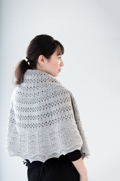 "Halo lace pi shawl by Jared Flood. Shown in color ""Snowbound"". From Jared Flood's ""Woolens"" Collection. Photographed by Jared Flood. Lace Knitting, Knitting Needles, Knit Crochet, Knitting Patterns, Brooklyn Tweed, Pattern Library, Stockinette, Knitted Shawls, Shawls And Wraps"