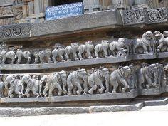 Lions and elephant carvings in Manjunathar Temple, Murudeswar, Karnataka, India.