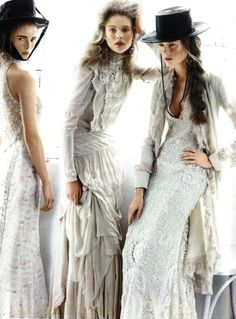 Wedding dress | Vogue fashion editorial | White lace wedding gowns