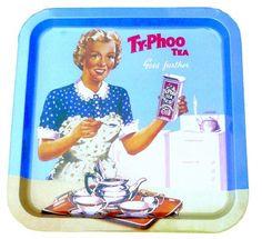 Tällaiset vintageteetarjottimet mainoskuvilla tai muunlaisina on tervetulleita.    Tarjotin, Ty Phoo tea