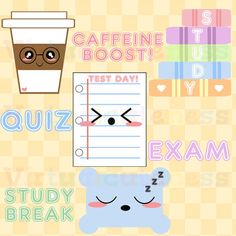 Kawaii Test Clipart - Cute Exam Day, Studying, Digital Stickers, Student Planner, School Stickers, College, Free Commercial and Personal Use