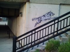 wolveswolves:  Audrey submitted:  This was with the other wolf street art in Milwaukee