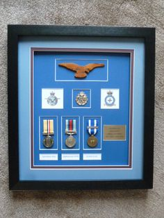 A Large Ww1 Memorabilia Shadow Box Frame Containing Medals