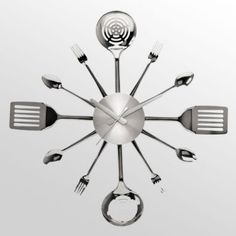 Big fun   Spatula, fork and spoon clock. Could do this DIY if you're crafty