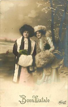 Italy Well Dressed Women Wish Merry Christmas BUON NATALE Real Photo Postcard | eBay