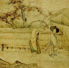 Korean folk painting by Hyewon Shin Yoon Bok Korean Art, Asian Art, Korean Picture, Modern Hanbok, Korean Painting, Korean Traditional, Old Paintings, Naive Art, Modern Pictures