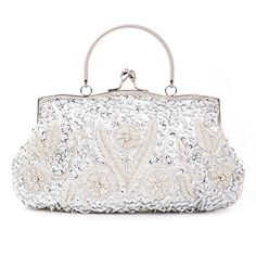 Chichitop Beaded Sequin Design Flower Evening Purse Large Clutch BagSilver *** Read more reviews of the product by visiting the link on the image.Note:It is affiliate link to Amazon.