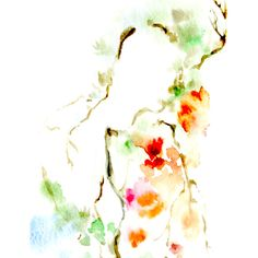 Watercolor Painting Art Print, Blooming Brach Painting, Minimalist... ($23) ❤ liked on Polyvore featuring home, home decor, wall art, flower wall art, flower home decor, flower paintings, blossom painting and flower stem