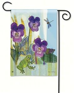 Pansy Prince Garden Flag.  BreezeArt Premium Flags are made of our exclusive SolarSilk 600 denier polyester for greater durability, yet they have a softer, silkier feel for better drape and movement. Fade and mildew resistant. #gardenflags #gardenflag
