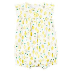 Carters Baby Girls Snap-Up Cotton Romper Lemon Print, White, 3M