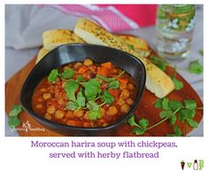 Moroccan harira soup with chickpeas, served with herby flatbread Harira Soup, Chickpeas, Chana Masala, Moroccan, Vegetarian Recipes, Meals, Dishes, Ethnic Recipes, Food