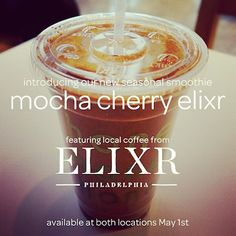 Honeygrow in Philadelphia is slinging its brand new seasonal concoction: a Mocha Cherry Elixr Smoothie. The vegan smoothie is made with coffee blended with dark chocolate chips, dried cherries, banana and vanilla.