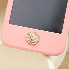 1PC Bling Paved Clear Crystal Ball iPhone Home Button Sticker for iPhone 4,4s,4g, 5  iPad, iPhone Charm. $5.96, via Etsy.