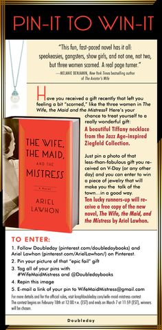 Win one of ten copies of THE WIFE THE MAID AND THE MISTRESS and a Tiffany necklace from the Jazz-Age inspired Ziegfeld collection. @Doubleday Books