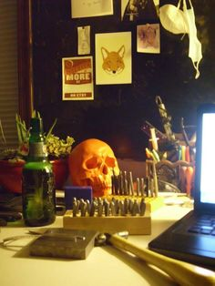 We love the way that one of our clients has used our skull head on her work desk! So cute!