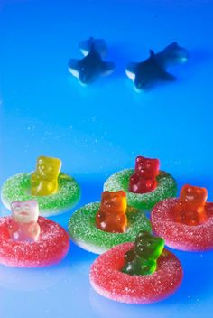 gummi bears in jelly rings on blue jello for Awana snack! :D