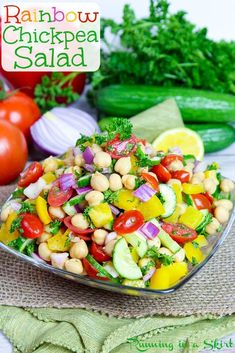 This fast and healthy rainbow delicious Chickpea Salad recipe is the perfect summer side dish or vegan main course. It's packed with gorgeous, nourishing veggies! Chickpea Salad Recipes, Healthy Salad Recipes, Healthy Foods To Eat, Whole Food Recipes, Healthy Snacks, Vegan Recipes, Healthy Eating, Vegan Food, Healthy Suppers