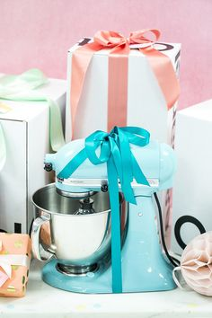 @kitchenaidusa mixer displayed on bridal shower gift table #CRATEWEDDINGx100LC @crateandbarrel @100layercake