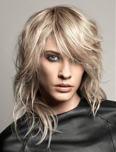 A long blonde straight coloured Rock-Chick hairstyle by Jean Louis David