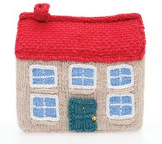 Free knitting pattern: Knit a miniature house (it goes with the car and doll i posted separately)