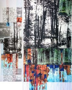 Ideas For Landscape Paintings Fine Art Abstract Trees A Level Art Sketchbook, Textiles Sketchbook, Sketchbook Project, Collages, Collage Art, Tree Collage, Nature Collage, Mondrian, Landscape Art