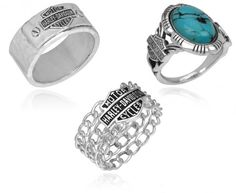 Fixed Multi-Chain, Hammered Silver Band, Native American Inspired - Harley-Davidson Rings