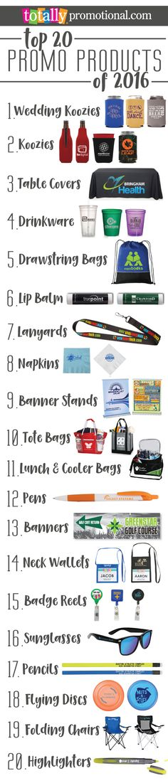 Here we feature our Best Selling, Top 20 Promotional Products from 2016! Use coupon code PINNER10 and receive 10% off your future order with us! Sale applies to piece price only, not valid with other coupon codes and expires April 4, 2017!