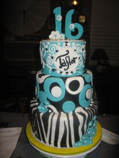 Sweet 16 Cake but i would put pink instead of blue love it!!!