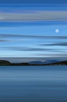 Moon over Oban Bay, Scotland