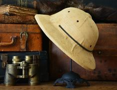 Vintage Wolseley Pith Helmet Canvas Safari by ObjectsToCrave Atlantis The Lost Empire, Pith Helmet, Vintage Safari, British Colonial Style, Hunting Hat, Hat Stands, Character Aesthetic, Photo Props, In This World