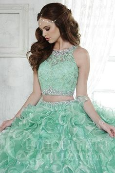 Magbridal Gorgeous Two-piece 2 In 1 Tulle & Rhinestones Tulle & Highlight Yarn Jewel Neckline Ball Gown Quinceanera Dresses With Beaded Lac. Sweet 15 Dresses, Pretty Dresses, Pretty Quinceanera Dresses, Prom Dresses, Quinceanera Collection, Two Piece Gown, 3 Piece, Pageant Wear, Quince Dresses
