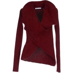 J.w.anderson Jumper ($525) ❤ liked on Polyvore featuring tops, sweaters, maroon, v-neck tops, vneck sweater, v neck sweater, red v neck top and red sweater