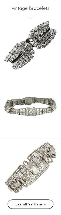 """""""vintage bracelets"""" by kristie-miles ❤ liked on Polyvore featuring jewelry, bracelets, multiple, diamond bangles, roaring 20s jewelry, cuff bangle bracelet, platinum jewellery, platinum jewelry, vintage and 1920s jewelry"""