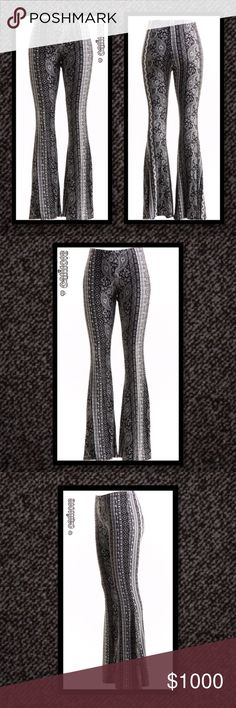 ⭐️⭐️COMING IN 2-3 DAYS RESERVE YOUR SIZE TODAY⭐️⭐️ New Black and White Paisley Print Bell Bottom Pants Material: 96% Polyester 4% Spandex Color: Black and White  Pattern: Paisley Size Avail: Small, Medium, Large Made in Mexico Fits true to size PRICE IS FIRM UNLESS BUNDLED ⭐️⭐️LOWBALL AND TRADE OFFERS WILL BE IGNORED (SORRY)⭐️⭐️ Glam Squad 2 You Pants