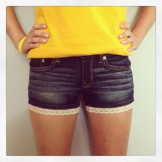 DIY lace trim shorts- so easy and a great (cheap!) way to lengthen jean shorts that are just a little too short ;)