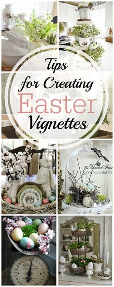 Tips for Creating an Easter Vignette including 18 different examples of spring and easter decorations Diy Easter Decorations, Decoration Table, Easter Centerpiece, Christmas Decorations, Diy Osterschmuck, Diy Ostern, Easter Parade, Hoppy Easter, Easter Eggs