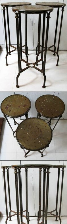 Industrial Style Wrought Iron Stools | Chez Zoe :: Simple, functional counter height stools in wrought iron, with pierced seats. Double banded iron makes these a little more than your run of the mill stool. The design has an industrial edge & rembles c.1910 French Bistro chairs, that were also made with double iron supports. | #chezzoe #industrial #iron #stools