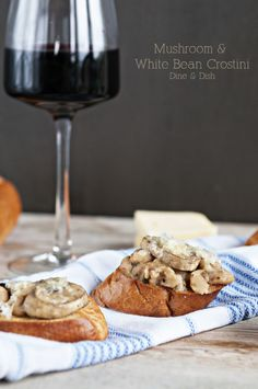 Mushroom and White Bean Crostini. #food #Italian #appetizers #starters