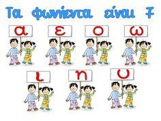 First Grade, Second Grade, Greek Language, Nursery School, Grammar, Alphabet, Education, Comics, School Ideas