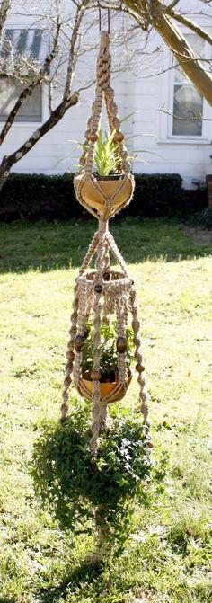Triple Handmade Macrame Plant Hanger - photo only; no instructions.