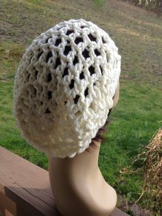 Unisex Off White Crochet  Mesh Summer Slouchy Beanie Tam Dread Hat  CUSTOM ORDERS Accepted on Etsy, $20.00