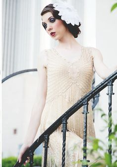 Beautiful!  Gold is a great alternative to white for a 1920s wedding dress. Perfect for bridesmaids too.