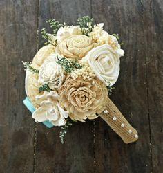 Custom Handmade Bouquet- Ivory and Champagne, Alternative Flower Bouquet, Sola Flower Bouquets, Keepsake Bouquets