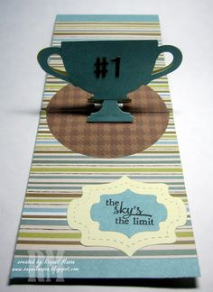 Cup Pop Stand made into a trophy - great masculine card!