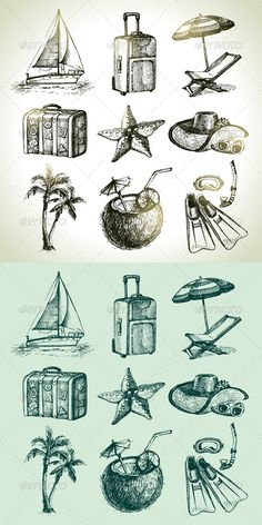 Buy Hand Drawn Travel Set by pimonova on GraphicRiver. Set of hand drawn vintage travel and vacation illustrations: coco cocktail, boat, palm, umbrella and armchair, suitca. Dove Tattoos, Ocean Tattoos, Scuba Tattoo, Umbrella Tattoo, Conception Web, Travel Doodles, Cocktail Umbrellas, Mask Tattoo, Tatoo